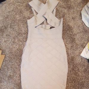Grey crossroads bandage dress